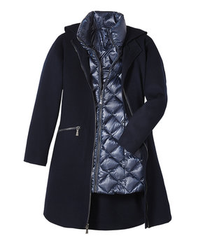 DAWN LEVY BLUE OVERCOAT WITH BLUE VEST LINING